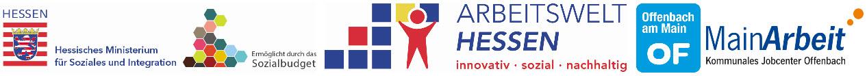 Logos Hessisches Ministerium für Soziales und Integration, Initiative Arbeitswelt Hessen, Stadt Offenbach und MainArbeit