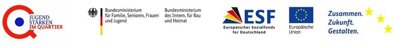 Logos Jugend stärken im Quartier, Bundesfamilienministerium, Bundesinnenministerium, Europäischer Sozialfonds und Europäische Union