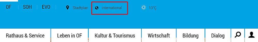 Navigation Internetseite Stadt Offenbach mit roter Umrandung bei International